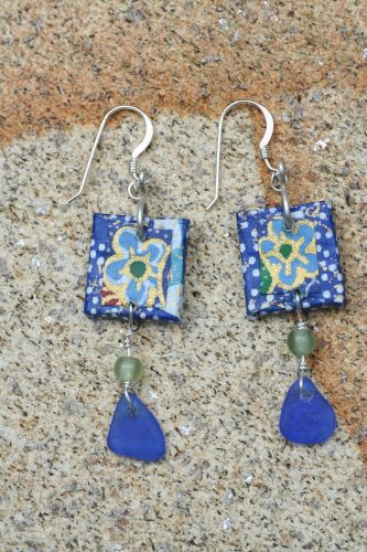 Sea Glass Origami Earrings © Janet Woodcock 2005